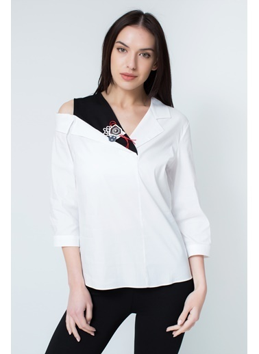 Clıche  Vizon Asimetrik Bluz. Beyaz